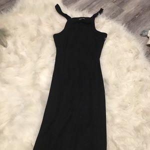 Black midi length dress nasty gal